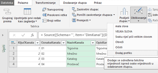 Power Query – dodavanje predmetka/nastavka tekstnom stupcu