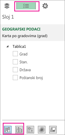 Ikone složenog stupčastog i grupiranog stupčastog grafikona na kartici Popis polja