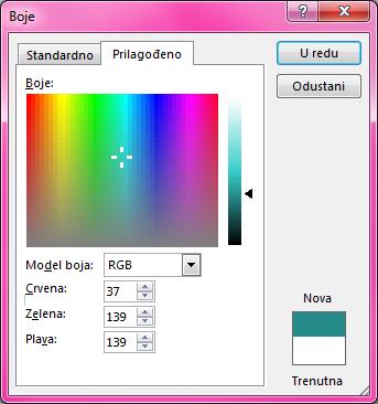 Mogućnost prilagođenog miješanja boja