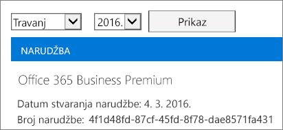 Snimka zaslona stranice Računi u centru za administratore sustava Office 365.