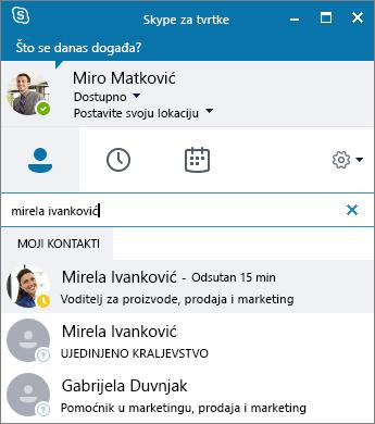 Snimka zaslona na kojoj se prikazuje prozor Skypea za tvrtke tijekom traženja kontakta za dodavanje.