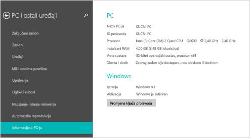 Stranica s informacijama o PC-ju u postavkama PC-ja