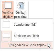 Mogućnost prilagođene veličine slajda na izborniku