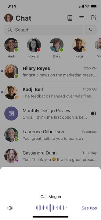 Snimka zaslona pozivanja Teams mobilnom uređaju