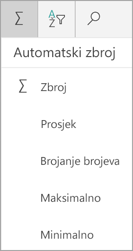 Zbroj programa Excel za tablet u sustavu Windows