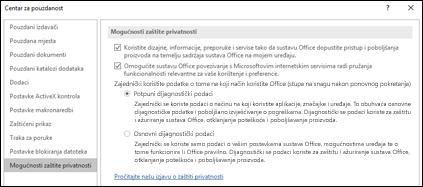 Odjeljak Zaštita privatnosti u postavkama centra za pouzdanost sustava Office za Windows