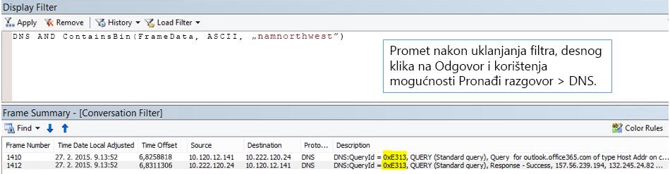 Praćenje filtrirano prema mogućnosti Pronađi razgovore, a zatim prema DNS-u.