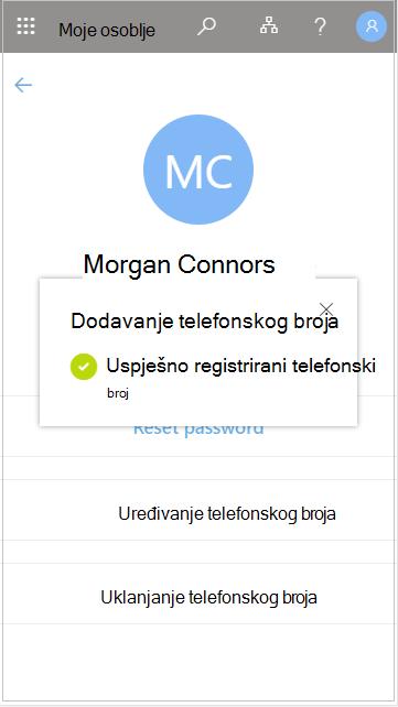 Spremanje dodanog telefonskog broja korisnika u moje osoblje
