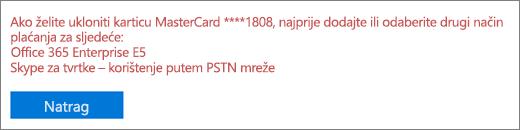 Poruka o pogrešci koja se prikazuje ako pokušate ukloniti kreditnu karticu ili bankovni račun koji se trenutačno koristi za plaćanje aktivne pretplate.
