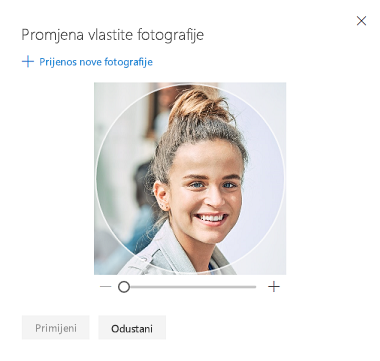 Zaslon s mogućnosti za promjenu fotografije profila