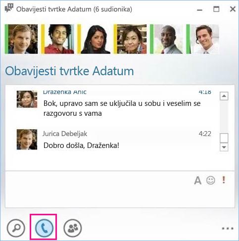 Snimka zaslona s gumbom za poziv u sobi za razgovor