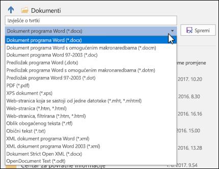 Kliknite padajući izbornik za vrstu datoteka da biste odabrali neki drugi oblik datoteke za dokument
