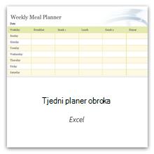 Odaberite tu mogućnost da biste dobili tjedni predložak planera obroka.