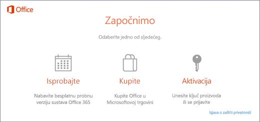 Snimka zaslona koja prikazuje zadane mogućnosti isprobavanja, kupnje ili aktivacije za PC s unaprijed instaliranim sustavom Office.