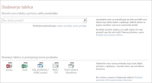 Dodavanje tablica u web-aplikaciju programa Access
