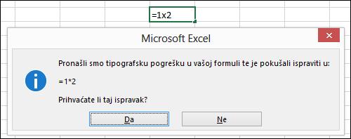 Okvir s porukom u kojem se traži da za množenje umjesto znaka x koristite znak *