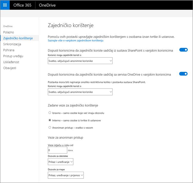 Kartica zajedničko korištenje centra za administratore servisa OneDrive