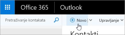 Snimka zaslona pokazivača koji se nalazi iznad gumba novo na stranici osobe.