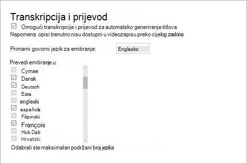 Omogućivanje transkriptom i prevođenje