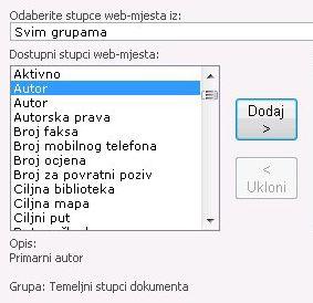 Dodavanje stupca web-mjesta