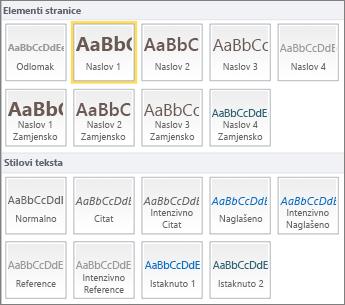 Snimka zaslona koja prikazuje da su Elementi stranice i Stilovi teksta dostupni u grupi Stilovi na vrpci sustava SharePoint Online.