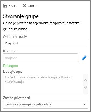 Snimka zaslona s prikazom upisivanja naziva i klika na mogućnost Stvori radi stvaranja grupe na servisu OneDrive za tvrtke