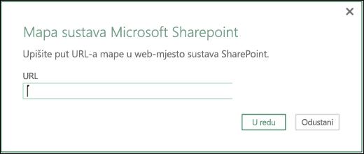 Dijaloški okvir dodatka Power BI za Excel za povezivanje s mapom sustava SharePoint