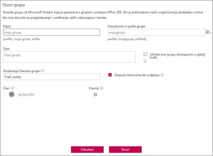Snimka zaslona: Grupe pravila imenovanja blokirane primjer za Microsoft Stream