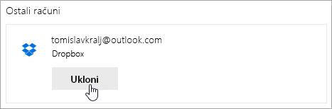 Snimka zaslona s gumbom Ukloni
