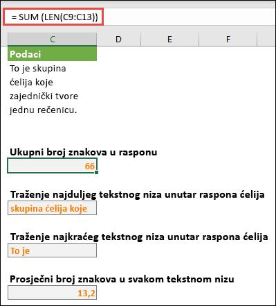 Brojanje ukupnog broja znakova u rasponu i drugih polja za rad s tekstnim nizovima
