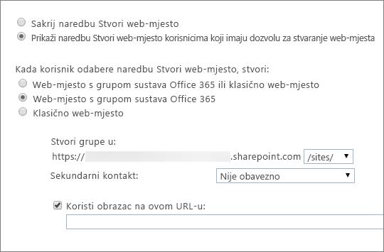 Prikaz naredbe za stvaranje web-mjesta