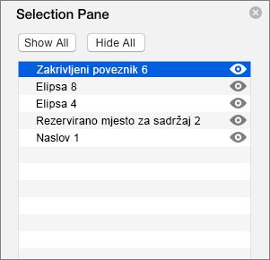 Prikazuje okno za odabir u programu PowerPoint 2016 za Mac