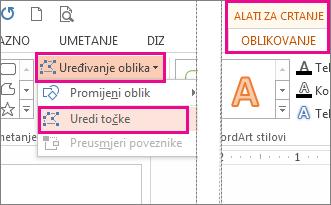 naredba uredi točke, kojoj se pristupa putem mogućnosti uređivanje oblika na kartici alati za crtanje, oblikovanje