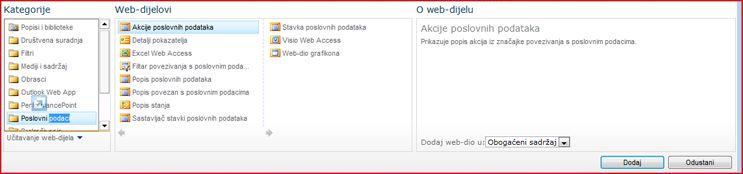 Alat za odabir web-dijelova prikazuje web-dio komponente Excel Web Access