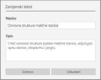 Dijaloški okvir Zamjenski tekst za dodavanje zamjenskog teksta u programu OneNote za Windows 10.