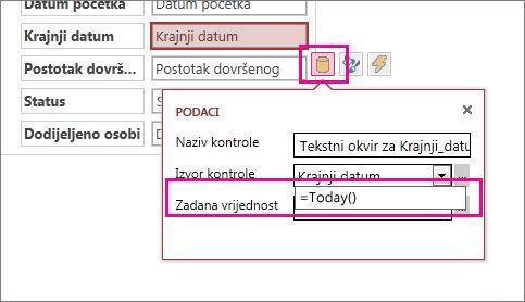 Postavljanje zadane vrijednosti polja datuma u web-aplikaciji programa Access.