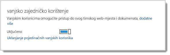 Slika s prikazanom kontrolom za uključivanje/isključivanje kojom se vanjskim korisnicima omogućuje pristup timskom web-mjestu i dokumentima.