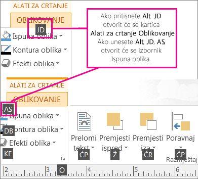 Novi tipkovni prečaci s dva slova koji otvaraju karticu Alati za crtanje.