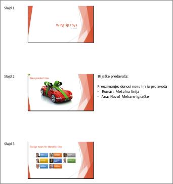 Brošure kako su prikazane u programu Word