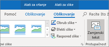 Gumb Alternativni tekst na vrpci programa Outlook za Windows.