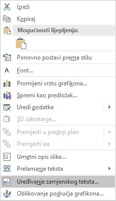 Izbornik za uređivanje teksta u programu Word Win32 za grafikone