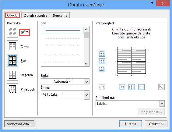 Outlook 2010 Obrubi i sjenčanje dijaloški okvir za tablice