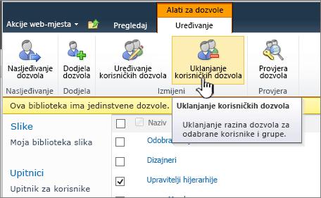 Gumb Ukloni korisničke dozvole
