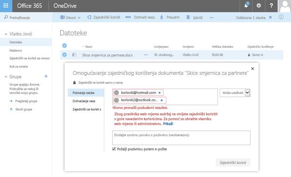 Korisnici primaju ta se pogreška prilikom pokušaja zajedničko korištenje dokumenta OneDrive adrese ograničena domene.