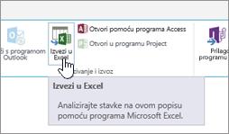 SharePoint gumbom Izvezi u Excel na vrpci istaknuta