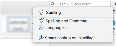 Okvir za pretraživanje riječi u programu Word za Mac 2016