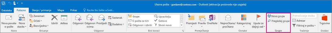 Mogućnosti grupa na glavnoj vrpci programa Outlook