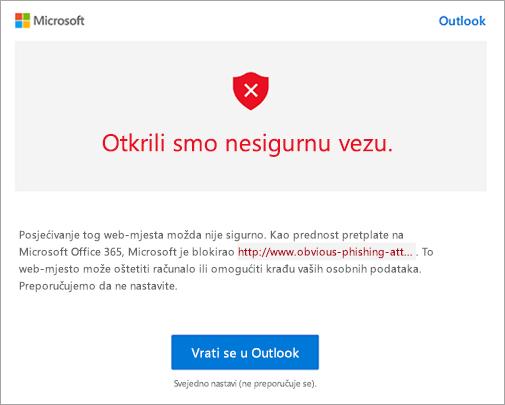 Snimka zaslona s upozorenjem o nesigurnim vezama