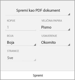 Spremanje u obliku PDF datoteke