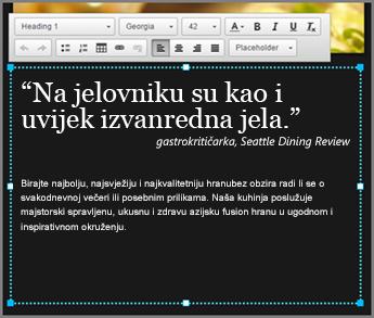 Primjer teksta tijela u prikazu dizajna na servisu GoDaddy